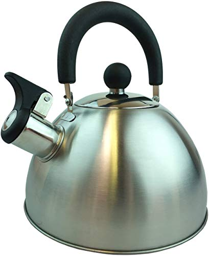 Vedmantra® Hervidor de te silbante para estufa – Hervidor de agua de acero inoxidable de 1,8 l para estufa electrica, ceramica o gas