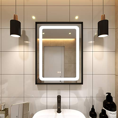 Petus PetusHouse 20 X 28 Inch LED Lighted Bathroom Mirrors, Wall Mounted Black Frame White Light Dimmable Defogger Memory Button Waterproof CRI90, Vertical