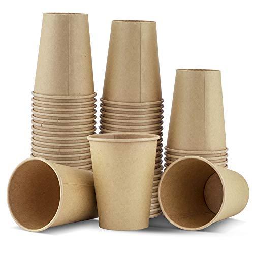 TOROTON Vasos Desechables, Vaso de Papel Kraft Biodegradable y Compostable, Vasos Carton para Servir el Café, el Té, Bebidas Calientes y Frías, 50 Piezas, 350ml