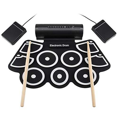 ACC rollen op Electronic Drum Kit Midi Electronic Drum Set met 9 Silicon Durm Pad USB Incorporate Stereo luidspreker met 2 pedalen voor Principianten Kid