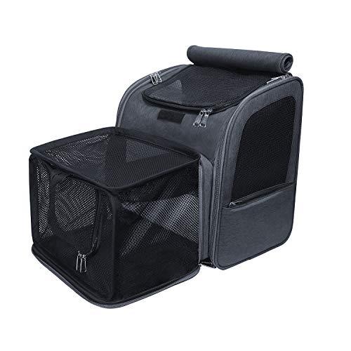 FLOFIA Haustier Rucksäcke für Hunde Katzen Expansions Haustiertragetasche Rucksack für Welpen Skalierbar Hunde Tragetasche Katzentasche Faltbar Haustiertasche Transporttasche Grau 7kg