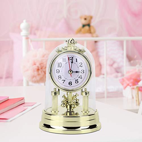 Omabeta Reloj de Mesa de Estilo Retro Europeo Adorno para el hogar Plástico Ligero Respetuoso con el Medio Ambiente para el espectáculo(Golden)