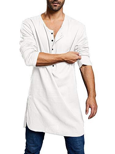 Camicia da uomo a maniche lunghe Henley Shirts Regular Fit Camicia di lino Camicia leggera estiva casual tunica cotone etnico Kaftan Roben A-bianco M