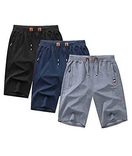 GEEK LIGHTING 3 Pack Mens Shorts Casual Cmofy Gym Shorts Drawstring Zipper Pockets Elastic Waist Black+Blue+Grey 3XL