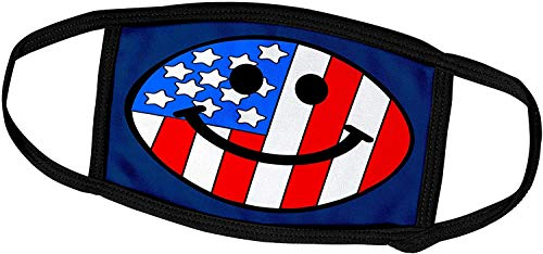 Keyboard cover Smiley Face Collection-Amerikanische Flagge Smiley Face-Patriotic USA 4. Juli Unabhängigkeitstag Happy Smilie auf Navy Blue-Face Masken