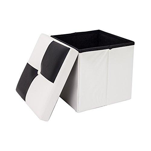 Rebecca Mobili Puff Baule bianco e nero, imbottito, urban, salotto camera da letto - Misure 30 x 30 x 30 cm (HxLxP) - Art. RE4258