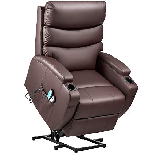 Kealive Lift Chair for Elderly Power Lift Recliner Chair with Massage and Heat Comfortable PU Leather Chair Sofa, Electric Recliner with Remote Control, Side Pocket and Cup Holders, Brown