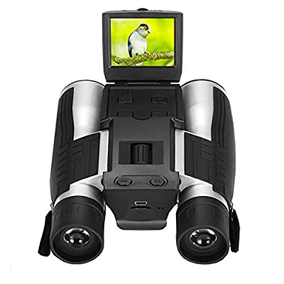 """Camonity 5M 2"""" LCD 16GB Digital Camera with Binocular 12X Zoom Video Photo Recorder Camcorder for Bird Watching Football Game Concert"""
