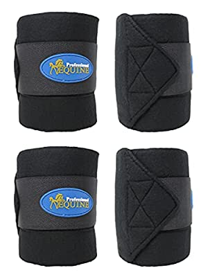 CHALLENGER Horse Tack Grooming Leg Set of 4 Fleece Polo Wrap Black Equine Care Rodeo 95R13 by Challenger Horsewear