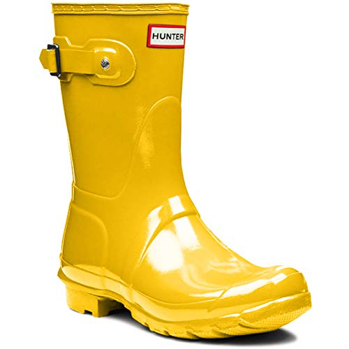 HUNTER Womens Original Tall Gloss Waterproof Rubber Rain Boot Wellington - Yellow - 9