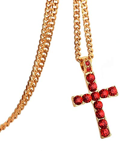 CAISHENY Collar Aleación Color Dorado Cruz Colgante Collar Religioso Helado Rhinestone Crucfix Collar Joya para Hombres con Cadena Cubana 60Cm