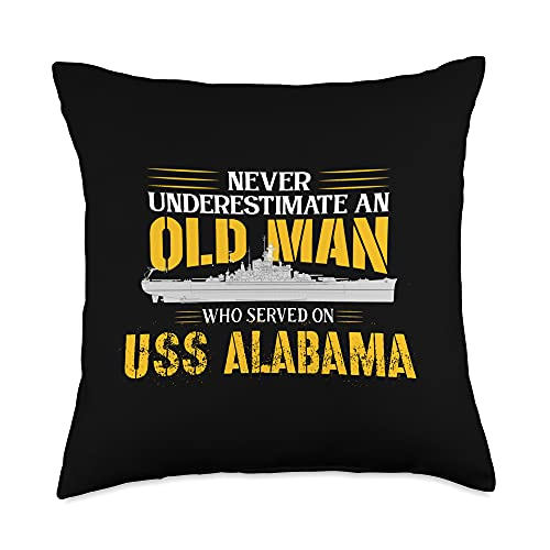 United States Military Battleship Designs Never Underestimate USS Alabama BB-60 Battleship Throw Pillow, 18x18, Multicolor
