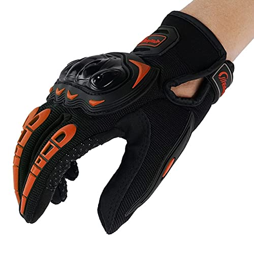 Motorcycle Glove Guantes Moto Touch Screen Full Finger Breathable Powered Outdoor Motorbike Racing Riding Bicycle Gloves Summer -Orange-2-XXL