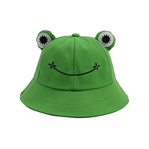 Fischerhut für Erwachsene, Frosch-Angler, Sonnenhut, Sommerhut aus- Baumwolle, niedlicher Frosch-Hut für Frauen Grün Erwachsene (56–58 cm)