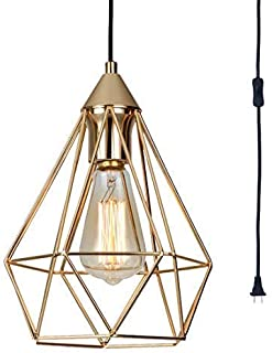 SEEBLEN Plug in Pendant Light Gold Hanging Lights P002