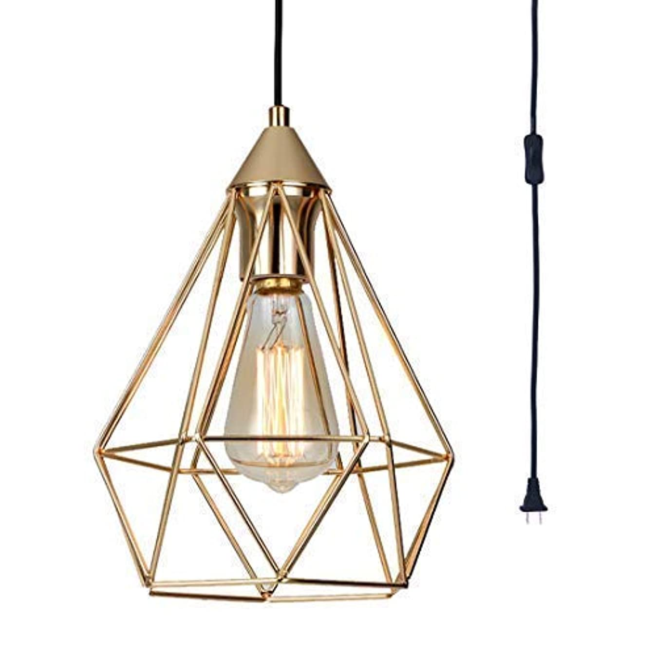 SEEBLEN Champagne Gold Hanging Light Modern Plug in Pendant Light with 15 Ft Cord Light Fixture in-Line On/Off Switch(9.8x7.9x7.9 inches)