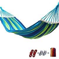 Giow Hamaca de Lona al Aire Libre con Palo de Madera, Hamaca Bay Stick Reforzada con Metal, antirreflejos, Hamaca Larga de Tela Azul y roja