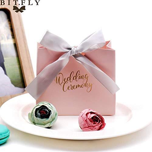 ERFHJ 5-pack bruiloft uitnodiging bedrukt snoepzakje doos voor gift decoratie/event party benodigdheden/happy event gift box snoep