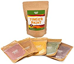 Veggie Baby Finger Paints for Toddlers, Vegan, Organic Baby Safe Coloring, Play, Colorful Eco Painting (5 Colors)