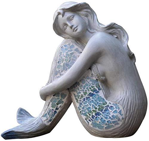 Escultura,Estatua De Sirena Sentada para Interior Y Exterior, Adorno De Escultura De Sirena para Piscina, Jardín, Decoración del Hogar, Hermoso Océano, Atlantis, Diosa, Sirena, Figura De Sirena, 20
