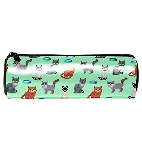 Estuches de lápices TIZORAX Gatos con cuencos de comida Bolso de bolígrafo Bolsa de cosméticos de maquillaje para mujeres Niñas Niños