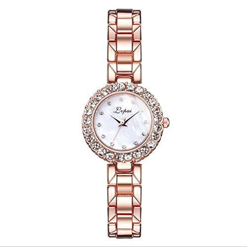 Tongjun Mode Luxus Frauen Armreif Armband Kleine Uhr Set Geometrische Quarzuhr Damen Armbanduhr Rose Gold Uhren Reloj Neue Quartz Uhr (Color : 2)