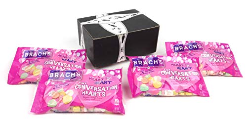 Brach's Heart 2 Heart Tiny Conversation Hearts, 7 oz Bags in a BlackTie Box (Pack of 4)