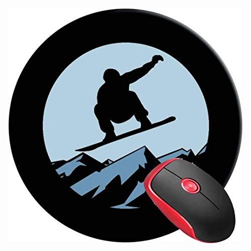 Mouse Pad,Board Snowboard Surfbrett Skateboard Board Rundes Mousepad Mousepad, Weiches, Komfortables Schreibtisch-Gaming-Pad Für Die Dekoration Von Bürocomputern,20x20cm