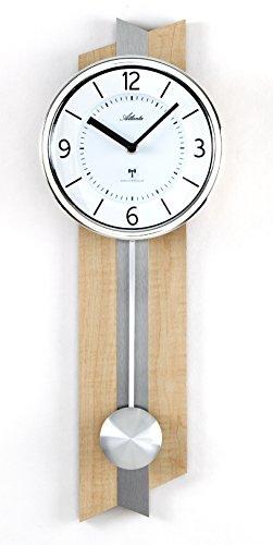 ATLANTA Radio Reloj de Pared con péndulo Madera Metal Cristal–5101
