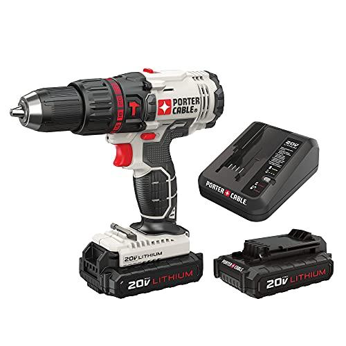 PORTER-CABLE 20V MAX Hammer Drill Kit, Compact, Cordless (PCC621LB)