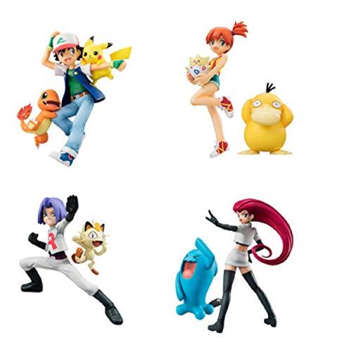 4 Piezas Pokémon Protagonista Figura De Juguete Equipo Cohete Jessie James Pikachu Ash Ketchum Modelo De Equipo Colección De Personajes Clásicos Adornos