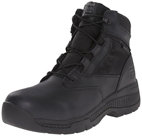 Timberland PRO Men's 6 inch Valor Soft Toe WP Work Boot, Black Smooth Leather Ballistic Nylon, 4.5 W US