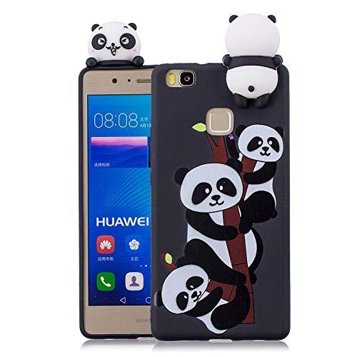 Wubao - Funda 3D con diseño de Panda, Compatible con Huawei P9 Lite (Fabricado en Silicona.), Patrón Animal Lindo (Color Multicolor)