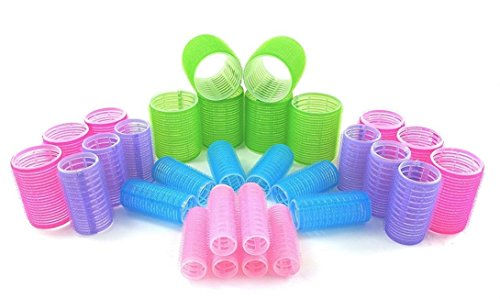 MINGHU Hair Rollers Multicolor Self Grip Cling Nylon Plastic Sticky Curling Tools Pro Salon Hairdressing Curlers Or DIY Curly Hairstyle 30PCS 5 Sizes ((20mm+25mm+30mm+40mm+48mm)6)