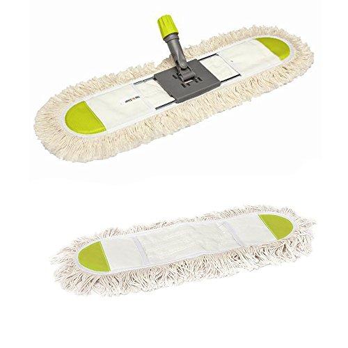 UNITED TRADE Mop in Microfibra Cotone Leva Polvere Lava Pavimenti 80cm + 1 Ricambio