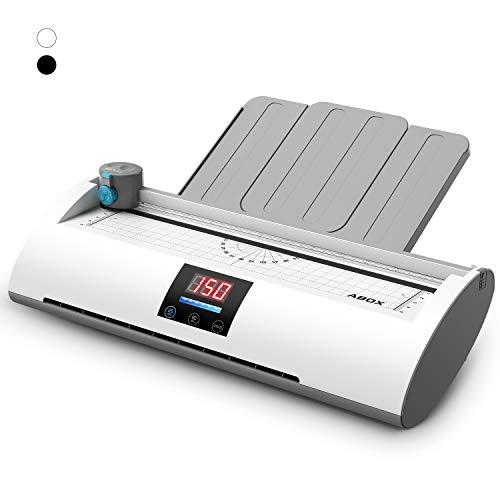 ABOX 6 IN 1 Laminiergerät A4 Laminierset 350 mm/min Temperaturanzeige Aufwärm-Fortschrittsbalken ABS Funktion, Schneidemaschine und Eckenrunder inkl 20 Laminierfolien, Pixseal Ⅱ Weiß