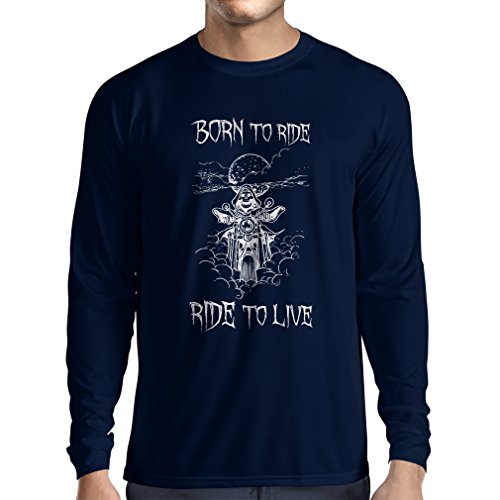 N4690L Camiseta de Manga Larga Born To Ride! Motorcycle Clothing (Small Azul Multicolor)
