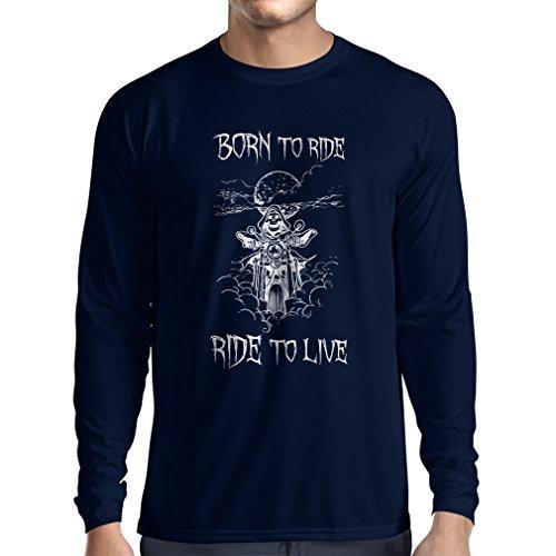 N4690L T-Shirt mit Langen Ärmeln Born to Ride! Motorcycle Clothing (Small Blau Mehrfarben)