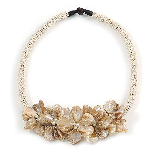 Avalaya - Collana con perline in vetro bianco con motivo floreale, lunghezza 48 cm