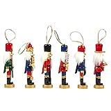 TomaiBaby 6pcs Christmas Nutcracker Ornaments Set, Wooden Nutcrackers Figures Christmas Tree Ornaments for Xmas Tree, Table Decor (Random Style)