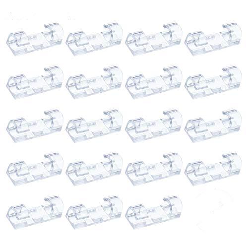You&Lemon 100 Stück Selbstklebende Kabelklemme, Kabelmanagement Set, Stark Kabelclips, Klebrige Kabelhalterr für PC TVKabel Haus Büro(Transparent)