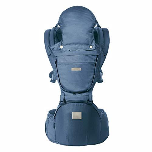 ThreeH Mochilas portabebé Recién Nacido de posiciones múltiples para todas las estaciones asiento de cadera ajustable con capucha y baberos BC28 Navy