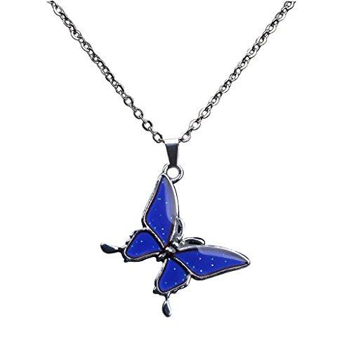 harayaa Fashion - Collar de Pedante de Mariposa de Color con Cambio de Humor Divertido para Niñas