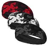 DRSKIN 3 Pack Headbands Sweatbands Hairbands for Women Men Workout Athletic Sports Running Cross Training Yoga All Head Sizes Under Helmets Headbands (CAMO-(GR+RE+BL))