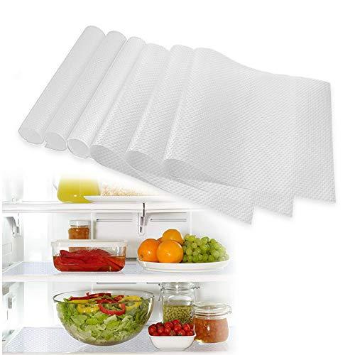 MELARQT Kühlschrankmatten 6er Antibakterielle Feuchtigkeit Matten entziehen Feuchtigkeit und Gerüch, rutschfest, Abwaschbar und DIY zuschneidbar Kühlschrank Matten 29 x 45 cm