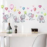 JZLMF Zsz1066 Dessin Animé Éléphant Ballon Papillon Sticker Mural Chambre D'enfants Salon Chambre Salle D'étude Décoration Autocollant