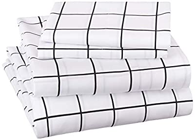 AmazonBasics Soft Microfiber Sheet Set with Elastic Pockets - Full, Black Grid