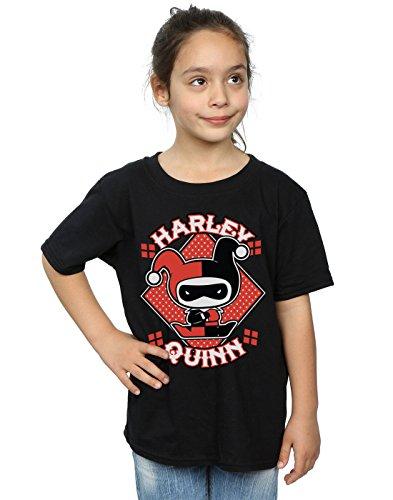 DC Comics Girls Chibi Harley Quinn Badge T-Shirt 7-8 Years Black