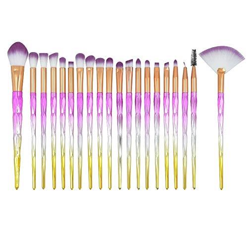 Maquillage Brush Set 20 dans 1 diamant poignée Brosse yeux Maquillage multi-fonctionnel brosse, rose + poignée bleue et le ciel bleu brosse, Maquillage de visage Pinceau (Color : Color3)
