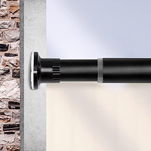 Qlf yuu Gardinenstange Teleskopstange ohne Bohren Verstellbare Vorhangstange, Ausziehbar Klemmstange durch Drehen Verstellbar, rutschfest als Duschstange Kleiderstange(Schwarz,110-210CM)